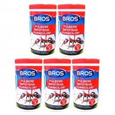 5 x Bros Praf pulbere, insecticid impotriva furnicilor, 5 x 100g