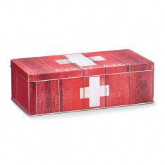 Cutie pentru depozitarea medicamentelor, First Aid, Metal Red, l26,2xA13,8xH8,2 cm