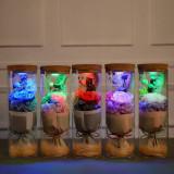 Cumpara ieftin Aranjament floral TRANDAFIR CRIOGENAT cu leduri RGB si telecomanda