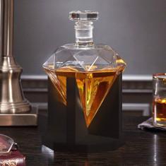 Sticlă-decantor diamant în suport lemn, MikaMax