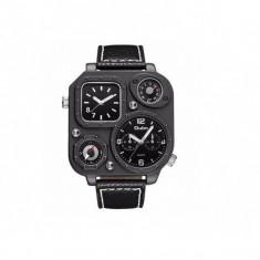 Ceas militar Oulm HP1169 Quartz time zone, negru, Fashion
