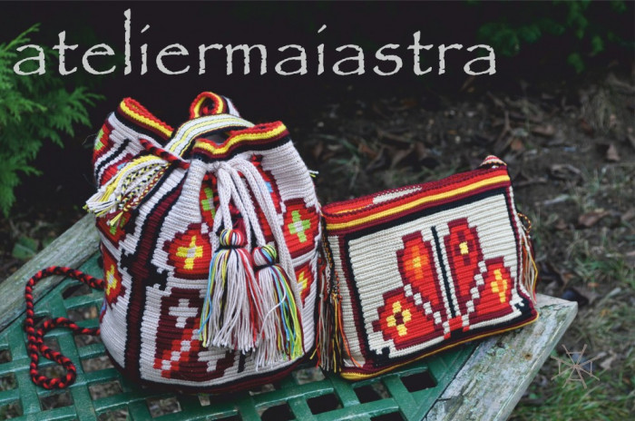 set genti crosetate ornamentate cu motivul popular din Crisana soare fitoform