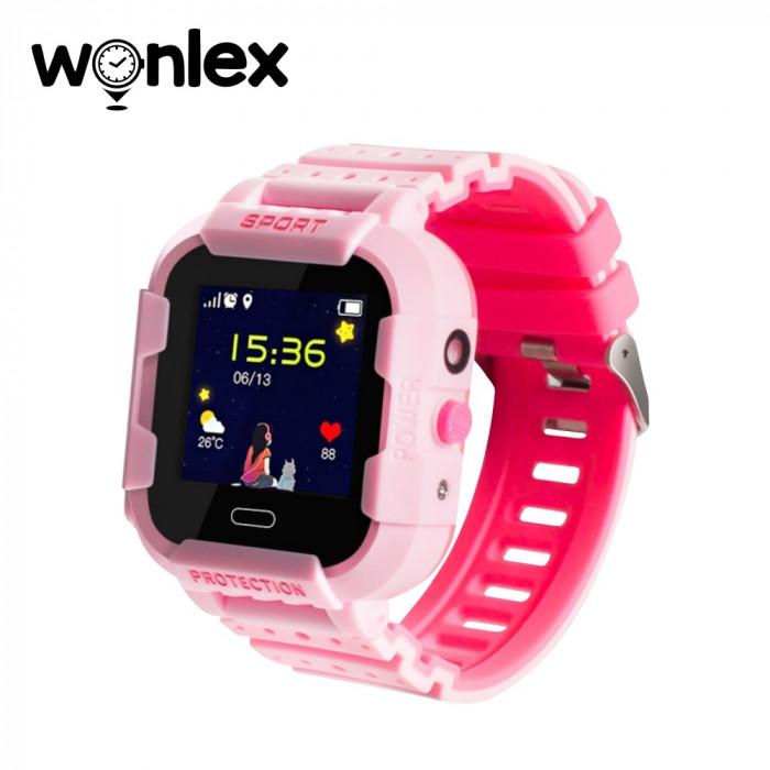 Ceas Smartwatch Pentru Copii Wonlex KT03 cu Functie Telefon, Localizare GPS, Camera, Pedometru, SOS, IP67 - Roz