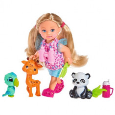 Papusa Evi Love 12 cm Baby Safari cu Figurine si Accesorii