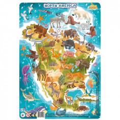 Puzzle cu rama - America de Nord (53 piese)