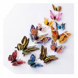 Fluturi 3D magnet, dubli, decoratiuni casa, evenimente, 12 bucati, colorati, A1