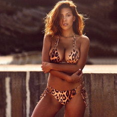 Costum de Baie Leopard Sexy Bralette Brazilian Bikini Sutien Straps