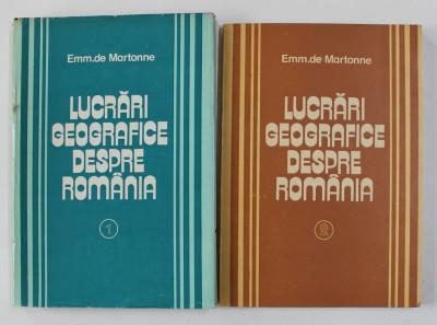 LUCRARI GEOGRAFICE DESPRE ROMANIA de EMM . DE MARTONNE , VOLUMELE I - II , 1981 foto