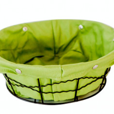 Cos rotund servire paine din metal cu panza, 23 x 8 cm culoare verde, 0120107
