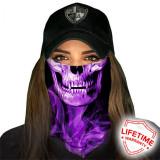 Bandana/Face Shield/Cagula/Esarfa - Skull Tech | Purple Crow, made in USA, Din imagine