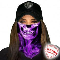 Bandana/Face Shield/Cagula/Esarfa - Skull Tech | Purple Crow, made in USA