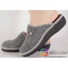 Papuci de casa gri din lana dama/dame/femei (cod 191016)