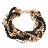 Brăţară - şnur negru, spiralat, lanţ auriu, mărgele