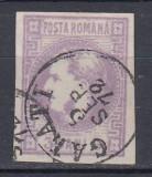 ROMANIA 1868 LP 22 CAROL I  FAVORITI  3 BANI  STAMPILA GALATI POINCON L. PASCANU, Stampilat