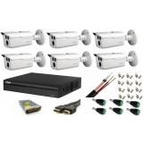 Cumpara ieftin Kit 6 camere supraveghere 2MP HDCVI, IR 80m, IP66 Dahua + DVR 8 canale 4K Full HD Dahua + Sursa + Cablu + Mufe + Cablu HDMI