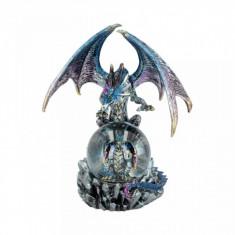 Statueta dragon cu glob Oracolul Azuriu 19 cm