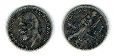 Romania 1914 - 1 leu, Ag, circulata, patina foto