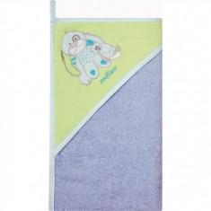 Prosop de baie cu gluga imprimeu velur 100 x 100 cm Womar Zaffiro Albastru-Verde