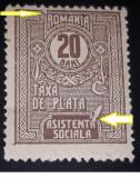 Cumpara ieftin Romania 1918, ASISTENTA SOCIALA, 20 BANI,MNH, CU EROARE CADRU SPART, Nestampilat