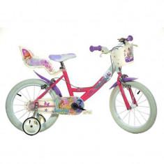 Bicicleta pentru fetite Dino Bikes Winx, cosulet pentru cumparaturi, 5 ani+