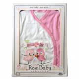 Cumpara ieftin Set nou nascuti 0-3 luni 100% bumbac din 5 piese: pantaloni cu botosel, bluzita cu capse, bavetica, caciulita, manusi, model alb/roz cu pasarele