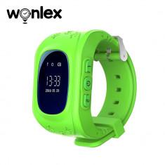 Ceas Smartwatch Pentru Copii Wonlex Q50 cu Functie Telefon, Localizare GPS, Pedometru, SOS - Verde, Cartela SIM Cadou