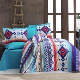 Cumpara ieftin Lenjerie de pat pentru o persoana cu husa de perna dreptunghiulara, Nordic, bumbac satinat, gramaj tesatura 120 g mp, multicolor, 140x240 cm, Set complet, FIVE STORE