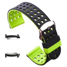 Curea silicon cu doua fete, adaptoare compatibile Samsung Gear Fit 2, Negru/Verde
