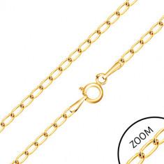 Lanț di aur 375 - zale ovale plate lucioase, 550 mm
