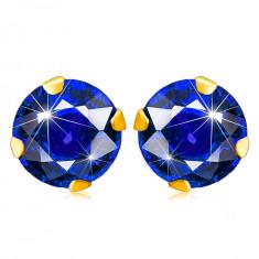 Cercei din aur 9K - zirconiu rotund strălucitor într-o culoare albastru închis