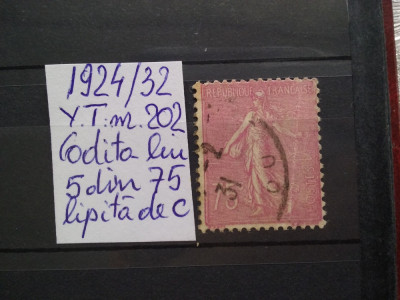 1924-1932-Franta-Semanatoarea-Y.T.202-Codita lui 5 lipita de c-EROARE-RAR foto
