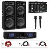 Cumpara ieftin Auna Pro PW-2222 MKII, set karaoke PA, amplificator, 2 difuzoare PA pasive, mixer, 2 microfoane