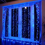 Instalatie de Craciun Tip Perdea Fir Transparent 3 X 3 m 300 Leduri Albastru 2782B