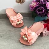 Cumpara ieftin Sandale roz cu fundita si perle / slapi / papuci pt fetite marimea 30