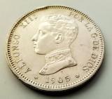 SPANIA - 2 Pesetas 1905 SM V - Alfonso XIII - Argint stare foarte buna, Europa