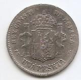 Spania 1 Peseta 1894 - Alfonso XIII (2nd portrait) Argint 5g/835, 22.5 mm KM-702