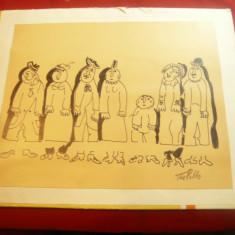Tablou - Caricatura semnata Tia Peltz , dim.= 18,8x23cm