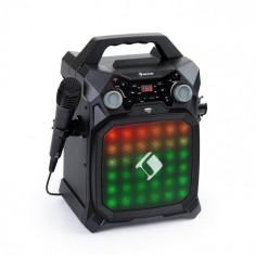 Auna Rockstar LightShow, echipament de karaoke, bluetooth, USB, Line-In / Out, 2 x 6,3 mm, negru
