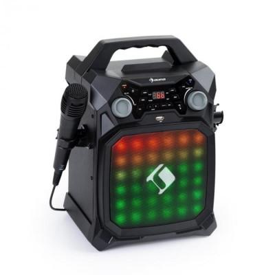 Auna Rockstar LightShow, echipament de karaoke, bluetooth, USB, Line-In / Out, 2 x 6,3 mm, negru foto