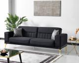 Canapea extensibila tapitata cu stofa, 3 locuri Nancy Velvet Negru / Auriu, l237xA88xH87 cm