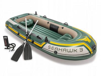 Barca Gonflabila Intex SeaHawk 3 cu 2 Scaune, Vasle si Pompa Incluse pentru Pescuit, Rafting sau Agrement foto