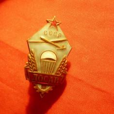 Insigna cu buton DOSAV 1950 URSS Asistenta Tehnica in Aviatie , h=3,5cm