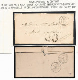 France 1857 Stampless 30 CENT TAXED Cover METZ TO ETOILE - RAIL DB.086