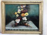 Tablou ,pictura in ulei pe panza,flori,autor Cociuba