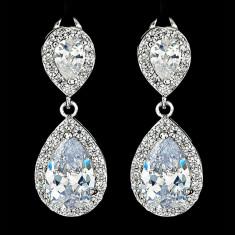 Cercei placati cu Aur 18K si Diamante, Afrodita Classic Platinum