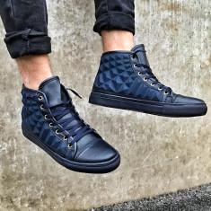 Adidasi pentru barbati bleumarin cu siret design iesit in relief peste glezna Ensar