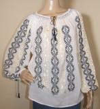 Ie romaneasca brodata manual , camasa populara  lucrata manual panza topita L, L/XL, Negru