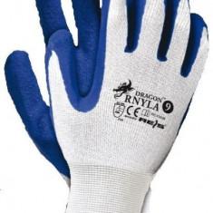 Cumpara ieftin Set 12 manusi protectie albastre marimea L acoperite latex rezistente