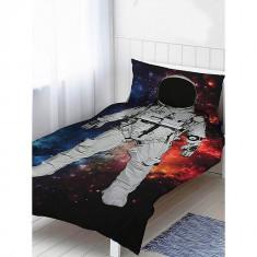 Set lenjerie de pat copii Astronaut, bumbac 100%, 135x200 cm, 140x200cm, Multicolor, 2 Piese