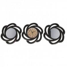 Set Ceas de Perete cu Doua Oglinzi Decorative Grunberg KLJ2930 Negru